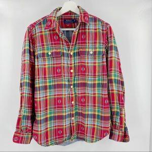 Ralph Lauren plaid double lined button down shirt